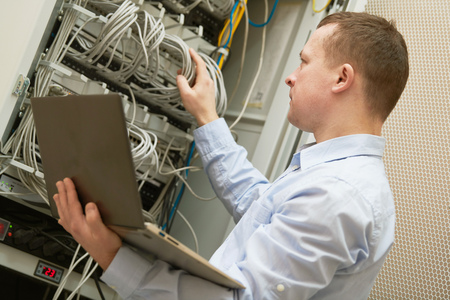 Photo pour Support network service engineer with server computer equipment - image libre de droit