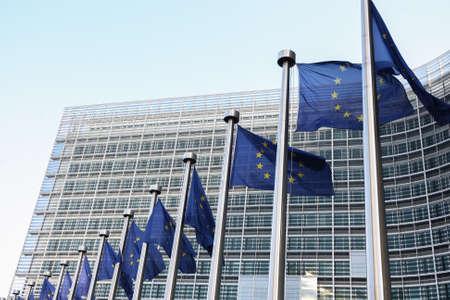 Photo pour EU Flags outside The European Parliament, Brussels, Belgium - 02 Mar 2011 - image libre de droit