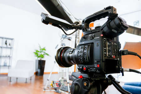 Photo for Professional cameras for recording video and photos, a professional studio equipment. - Royalty Free Image