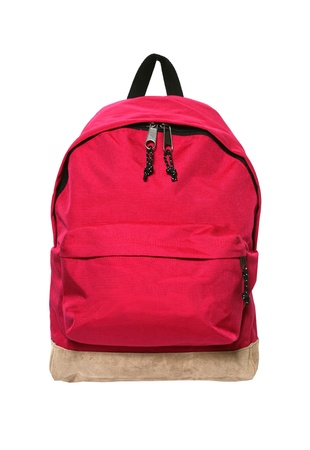 Red backpack isolated on white