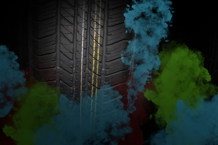 The color pattern on the tire smoke technology.