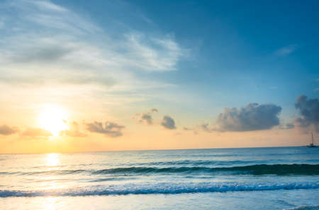 Photo pour Beautiful Asian sea view, sea sand floor, sand on the beach as background.Background image - image libre de droit
