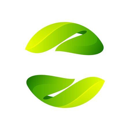 Ilustración de Ecology sphere logo formed by twisted green leaves. Vector design template elements for vegan, bio, raw, organic template. - Imagen libre de derechos