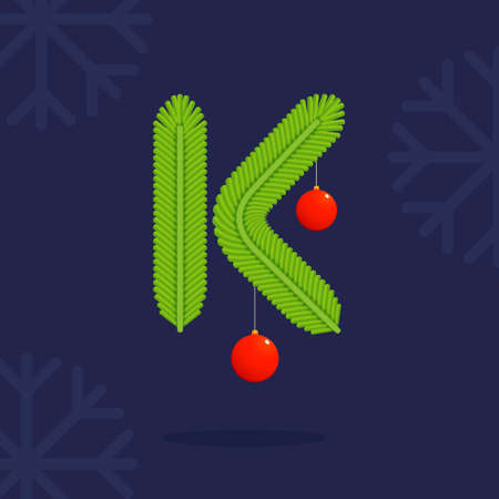 Illustration pour K letter formed by Christmas decorative fir-tree branches. Vector design template elements for your application or corporate identity. - image libre de droit