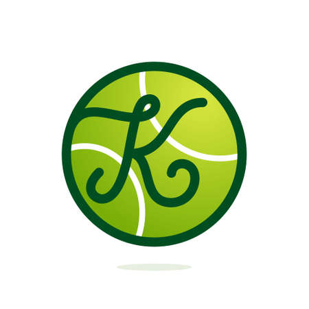 Illustration pour K letter  with tennis ball. Font style, vector design template elements for your sport team or speed corporate identity. - image libre de droit