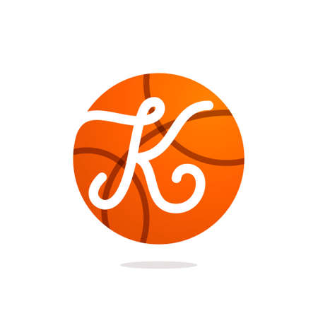 Illustration pour K letter logo with basketball ball. Font style, vector design template elements for your sport team or equipment identity. - image libre de droit