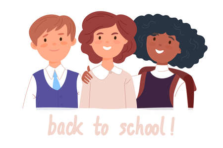 Illustration pour Group portrait of smiling school mates boy and girls embracing together. Happy students with Back to school lettering. Flat cartoon vector illustration. - image libre de droit