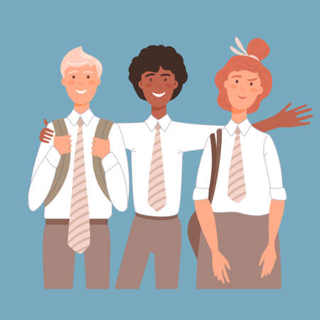 Illustration pour Group portrait of smiling school mates boys and girl embracing together. Flat cartoon vector illustration of happy students. - image libre de droit