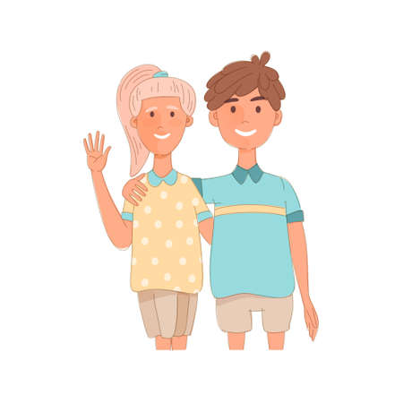 Illustration pour Group portrait of smiling school mates boy and girl embracing together. Flat cartoon vector illustration of happy students on a sports lesson. - image libre de droit