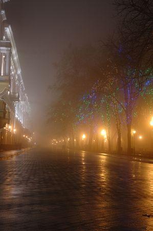 Foggy night on Primorskii Boulevard,Odessa,Ukraine