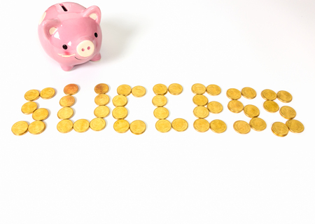 Sort the gold coins medal success with piggy bank on white background