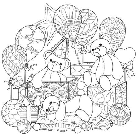 Illustration for Bear doll and gift box.Hand drawn sketch illustration for adult coloring book - Royalty Free Image