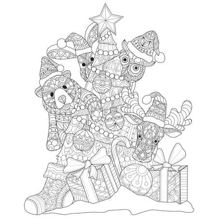 Illustration for Cute animal and Christmas tree Hand drawn sketch illustration for adult coloring book - Royalty Free Image