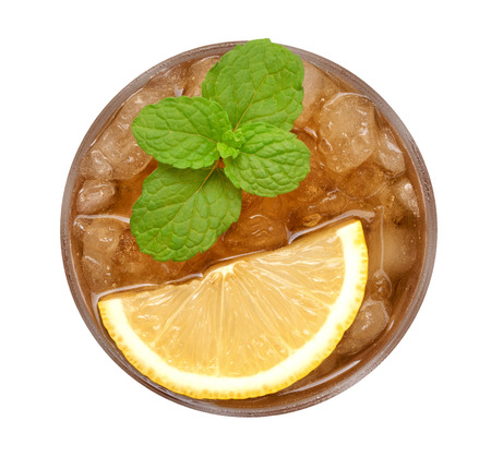 Photo for Ice lemon tea with mint top view isolated on white background, clipping path included - Royalty Free Image