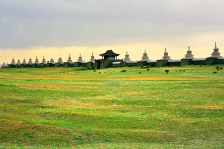 Karakorum city walls, old capital of medieval mongol empire. Walls constructed after Ghengis Khan's death. There is Erdene Zuu Monastery inside. It is located todays Kharkhorin city at Orkhon Valley, Mongolia.