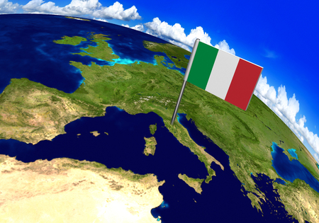 Flag marker over country of Italy on world map 3D rendering ...