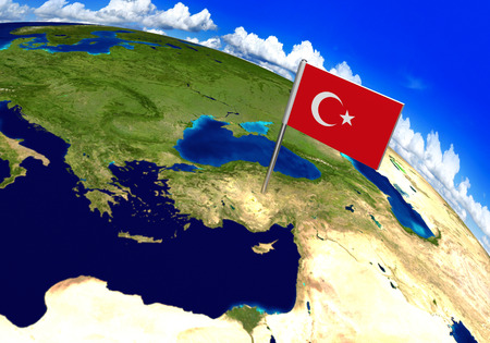 Flag marker over country of Turkey on world map 3D rendering, parts of this image furnished by NASA