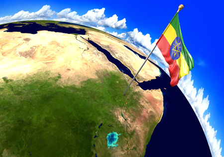 Ethiopia national flag marking the country location on world map. 3D rendering, parts of this image furnished by NASA