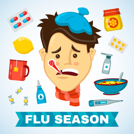 Illustration pour Sick man with thermometer in his mouth vector flat illustration character. Flat icon set of cold and flu season items - image libre de droit