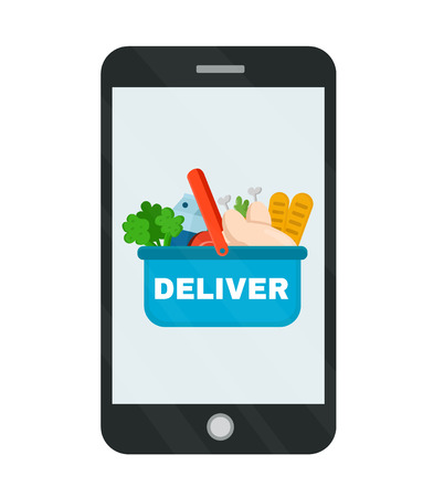 Illustration pour Basket with products from the market delivery in phone. - image libre de droit