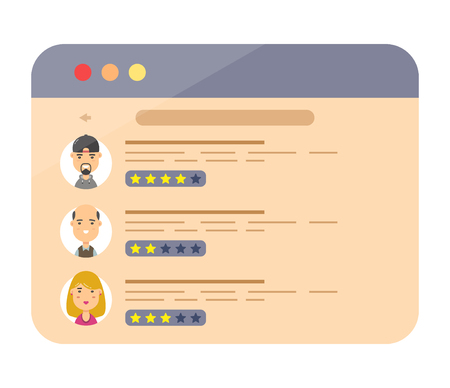 Review rating speeches in web site.Vector modern style cartoon character illustration avatar icon design.concept of decision, grading system, reviews stars rate and text, feedback evaluation, messages