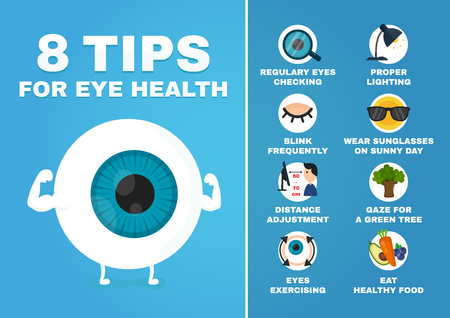 Illustration for 8 tips for eye health infographic. how to health care eyes. Strrong eyeball character. Vector modern style cartoon character illustration avatar icon design. Isolated on white background - Royalty Free Image
