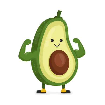 Illustration for Cute happy strong smiling avocado show muscle biceps. Vector modern flat style cartoon character illustration. Isolated on white background.  Eating healthy food, fitness, sport concept design - Royalty Free Image