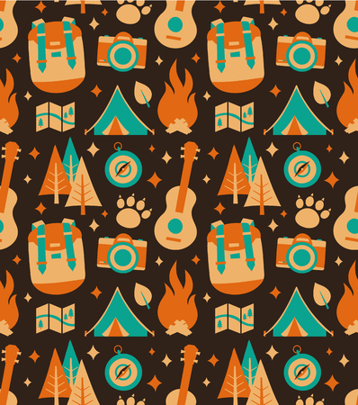 Hipster Nature Travel Adventure Seamless Pattern Vector Flat