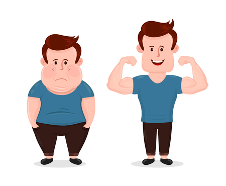 Illustration pour Young sad fat and sport fitness happy muscular man. Shows muscles biceps. Vector flat modern style illustration character icon design. Isolated on white background. Bodybuilding before after concept - image libre de droit