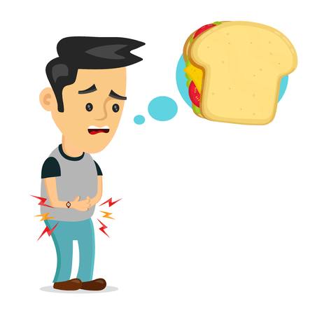 Illustration pour Hungry man thinking about sandwich. - image libre de droit