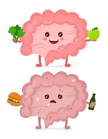 Illustration pour Sad unhealthy sick Intestine with bottle of alcohol, cigarette and burger. Happy healthy intestine. - image libre de droit