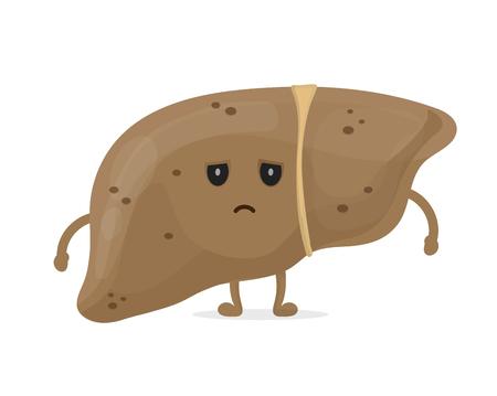 Illustration pour Sick unhealthy sad liver with hepatitis A. - image libre de droit
