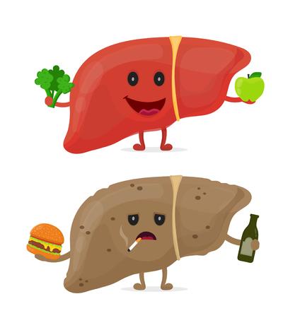 Illustration pour Sad unhealthy sick liver with bottle of alcohol, cigarette, and burger. And strong healthy happy liver. - image libre de droit