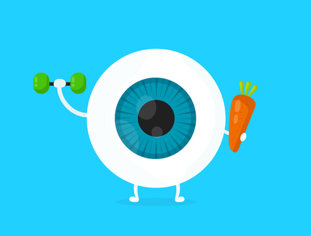 Illustration pour Strong healthy white eye, eyeball doing exercises with dumbbells and carrot character. Vector flat cartoon illustration icon design. Isolated on blue backgound - image libre de droit