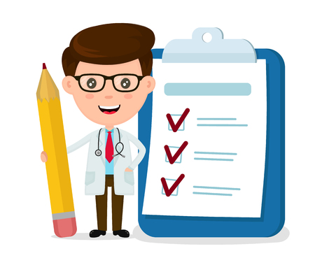 Ilustración de Happy smiling doctor with pencil, clipboard, checklist completed. Vector modern flat style cartoon character illustration. Isolated on white background. Medicine doctor concept. - Imagen libre de derechos