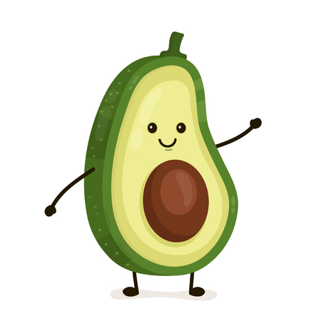 Illustration pour Funny happy cute happy smiling avocado. Vector flat cartoon character illustration icon. Isolated on white background. Fruit avocado concept - image libre de droit