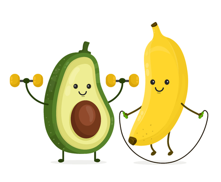 Illustration pour Cute happy smiling banana and avocado doing exercises Vector modern flat style cartoon character illustration. Isolated on white background. Hhealthy food,fitness,banana,avocado concept design - image libre de droit