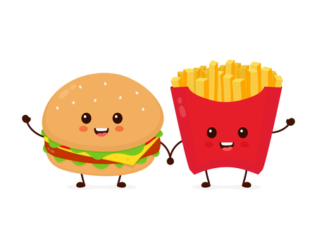 Illustration for Happy smiling funny cute burger and french fries friends. Vector flat cartoon character illustration icon design. Isolated on white background. French fries, burger,fast food cafe, junk food concept - Royalty Free Image