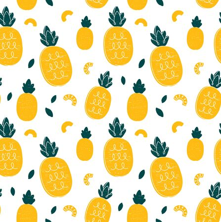 Illustration pour Pineapple hand drawing style beauty seamless pattern. Vector illustration color seamless pattern. Pineapple,tropical friut concept - image libre de droit