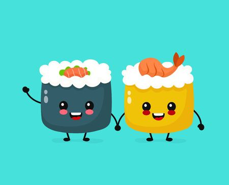 Cute Happy Funny Smiling Sushi Roll Vector Flat Cartoon Kawaii