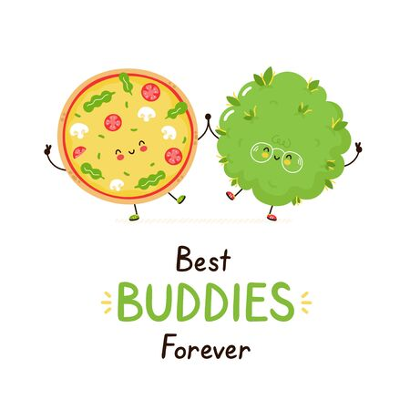 Illustration pour Cute happy smiling pizza and weed bud friends. Isolated on white background. Vector cartoon character illustration design,simple flat style. Best buddies forever card - image libre de droit