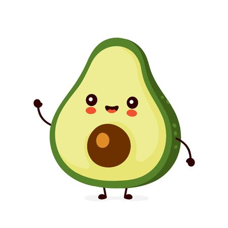 Illustration for Cute happy funny avocado. Vector cartoon character illustration icon design.Isolated on white background - Royalty Free Image