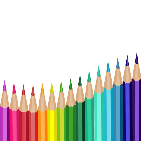 colored pencils lying in a row on a white background