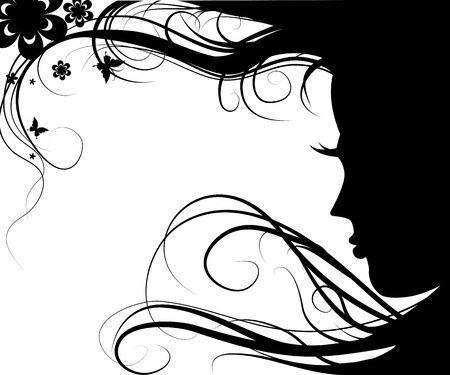 Background with silhouette beautiful girl with beautiful flowers and butterflies