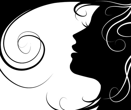 Background silhouette beautiful girl  vector and flying hair on white background
