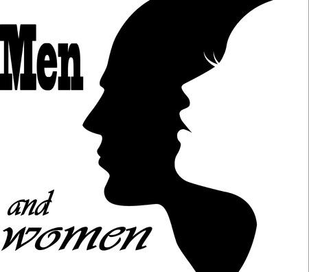 Illustration pour face man and woman - image libre de droit