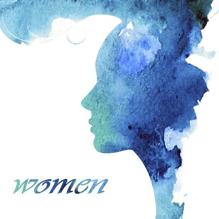 Illustration pour Woman chat vector logo design template. Girl silhouette - cosmetics, beauty, health; spa, fashion themes. Creative icon. - image libre de droit