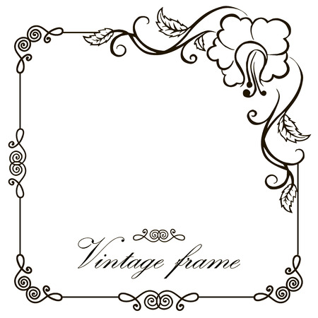 Illustration pour Vector vintage border frame engraving with retro ornament pattern in antique rococo style decorative design - image libre de droit