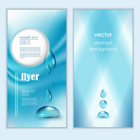 Illustration for Blue shiny water drops banners set. Vector illustration. Fresh rain template for cover card design. Pure organic water. Clean water. Mountain mineral rich water. Spring water. - Royalty Free Image