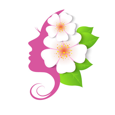 Ilustración de Female face in circle shape. Woman with flowers in hair. Vector beauty floral logo, sign, label design elements. Trendy concept for beauty salon, massage, spa, natural cosmetics. - Imagen libre de derechos